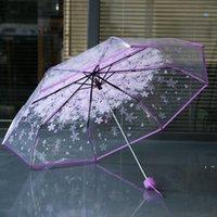 100 pz / lotto trasparente trasparente clear ombrello maniglia antivento 3 piega ombrello ciliegio fiore fungo apollo sakura donne ombrello rre1