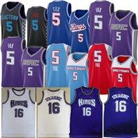 Vintage Basketball Jersey De Aaron 5 Fox City Jason 55 Williams Peja 16 Stojakovic Chris Webber Jerseys Men Edition retro Black Purple White