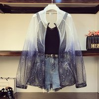 Women's Tracksuits 4XL 3 Piece Set Women Summer Plus Size Gradient Mesh Star Sequins Sunscreen Shirt Solid Knit Vest High Waist Jeans Shorts