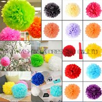 Wholesale-29 colors!!! 4inch 50Pcs Tissue Paper POM POMS Flower Kissing Balls Home Decoration Festive & Party Supplies Wedding dsf0871