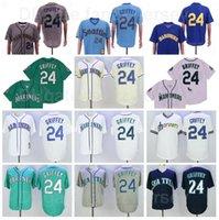 1984 1995 Rentieren Baseball 24 Ken Griffey JR Jersey Vintage FlexBase Cool Base Pullover Stickerei Und Nähen Grün Weiß Navy Blau Grau Team Cooperstown Retro