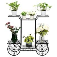 Artisasset Paint Carro Forma 6 Planta Stand Black Garden Decorações