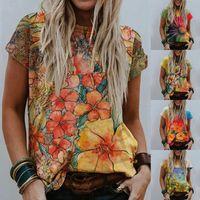 女性夏カジュアルティースクールレディプリント半袖ラウンドネックトップスブラウスTシャツ