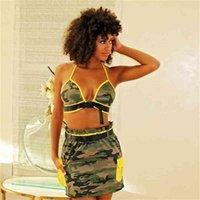 Sexy sutiã top + saia curta terno moda camuflagem dois pedaço conjunto mulher verão roupas vestido casual roupas de lazer de praia G40Y55