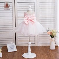 Girl's Dresses Baby Girls Kids Clothes Child Lace Pearl Princess 1st Birthday Dress Bowknot Pettiskirt Party Formal B5449