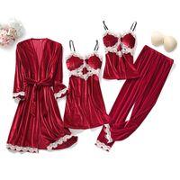4PCS Velour Pajamas Sets Winter Sleepwear Casual Womens Lace Pyjamas Sleep Suit Intimate Lingerie Sexy Nightgown Homewear