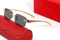 Солнцезащитные очки Мода Бизнес Дизайнерские Очки Круглая Рамка Гепард Обрамленные Устойчивые щедрые Классические Металлические Удобные колодки Нос Мужские Женщины с оригинальной коробкой