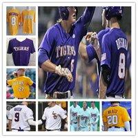 Lsu tigres faculdade beisebol costurado jerseys cws dj lemahieu alex bregman nola gausman aaron colina personalizado camisas roxo amarelo branco