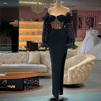 Black Split Mermaid Prom Dresses Off the Shoulder Long Sleeve Cocktail Party Gown Sequine Satin Evening Wears
