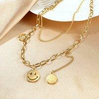 Koreanisches Ins Netz Rot Runder Marke Lächeln Halskette Mode Persönlichkeit Doppelschicht Titanstahl Halskette Collarbone Kette Pullover Kette Trendy