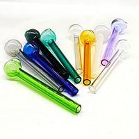 Tuyaux de couleur de 4 pouces (10 cm) Buse en verre Pyrex, huile transparente, tube à huile, paille de tête ronde