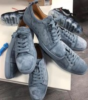 Men's junior red midsole sneakers low-top casual shoes limited edition blue suede sheepskin leather low-top formal shoelace box