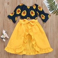 Kinder Kleidung Sets Mädchen Sonnenblume Outfits Kinder Ausröblierte Ärmel Tops + Rüschen Röcke + Shorts 3pcs / set Frühling Herbst Sommer Mode Baby Kleidung C1407