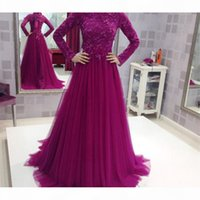 Long Sleeve Muslim Evening Dresses Lace Prom Gowns Sweep Train Plus Saudi Arabia Women Formal Party Evening Gowns