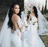 2021 vestidos de casamento de sereia com manga de ilusão longa Dubai Árabe Sexy Sheer Back Nupcial Vestidos de Casamento Lace Appliqued Tulle Court Trem