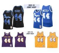 Personalizado s-6xl homens mulheres juventude costurada jerseys de basquete 44 Jerry West Jersey Mitchellness 1960-61 1971-72 Hardwoods clássicos retro desgaste