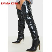 Patent Black  Red Leather Women Sexy Thigh High Boots Pointed Toe Over Knee Knight 2021 Femme Stiletto Heels Booties