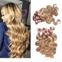 Nami Hair Honey Rubio Rubio Color Brasileño Body Wave Remy Hair Extensions 4 Paquetes Piano Color 8 613 Peinados