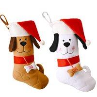 산타 모자 패턴으로 크리스마스 스타킹 수 놓은 개 크리스마스 트리 펜 던 트 장식 선물 가방 XBJK2109