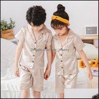 Baby, & Maternity Design Children Silk Summer Pajamas For Girls Pyjamas Softy Boys Sleepwear Baby Clothing Kids Pajama Set1 Drop Delivery 20