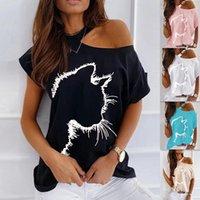 women clothes loose cat printed off-the-shoulder vest T-shirt Top Summer fashion Casual sport plus size T Shirt Tees Luxurydesignertshirts