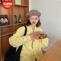 Spring Korean style loose fashion all-match goose yellow corduroy shirt short jacket women #yP6p