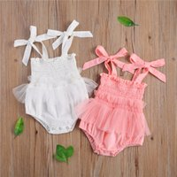 0-18m summer Rompers jumpsuit 2021 newborn baby girls lace solid ruffles sleeveless lovely pink white jumpsuits cotton clothing