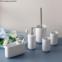 White Ceramic Bathroom Toiletries Lotion Bottle Mouth Cup Toothbrush Holder Toilet Brush Wash 5-piece Set Accessories Bath Accessory
