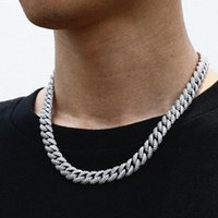 Necklaces Fashion 18 Inch 925 Sterling Silver Setting Iced Out Moissanite Diamond Hip Hop Cuban Link Chain Miami Necklace Jewelry for Mens