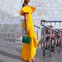 High Low Mermaid Evening Dresses Ruffles Off The Shoulder Gold Yellow African Women Long Prom Dress Vestidos