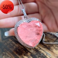 32*32mm Heart Pink Crystal Tourmaline Created Moissanite Gemstone Pendant Necklace for Women Fine Jewelry Anniversary Gift
