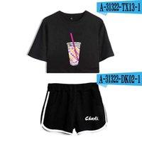 Rholycrawn Женские две части шорты + милая футболка Harajuku Print Цветок ледяной кофе Splash Charli Damelio Girl Set X0612