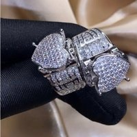 Top Selling Vintage Fashion Jewelry 925 Sterling Silver Full Pave White Sapphire CZ Diamond Gemstones Women Wedding Heart Band Ring Gift