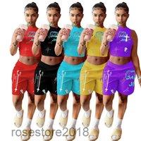 5 Renkler Kadın Eşofman Kıyafetler 2021 Yaz kadın Tasarımcısı Moda Basit Stil Baskı Kolsuz Yelek Şort Ince Rahat İki Parçalı Setleri