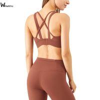 WMWMNU Femmes Sortie Sorf Soutien-gorge Haute Impact Support élastique Push-up Gym Sous-vêtement Vest d'entraînement Running Criscross Sexy Yoga Crop Top Outfit