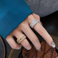 Luxury Jewelry Silver Full CZ Diamond Promise Wedding Bridal Ring For Women Gift