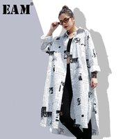 EAM 2021NEW Bahar Sonbahar Yaka Uzun Kollu Beyaz Baskılı Gevşek Düzensiz Büyük Boy Uzun Gömlek Kadın Bluz Moda Gelgit JF008