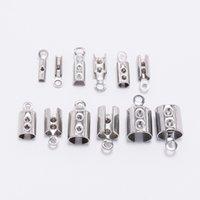50pcs 1-5mm Cavo di cuoio in acciaio inox Cordone perline Crimp Tels TAPS Connettori di fissaggio per gioielli con collana bracciale