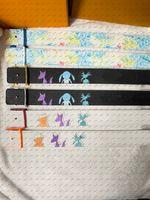 Mode Casual Leder Graffiti Cartoon Gürtel, Breite 4.0, Multiple Choice-Gurte, Größen von Euro 90 bis 110