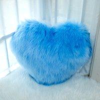 Amor almohada multicolor en forma de corazón con forma de espeluznante azul de imitación de lana Moderno Moderno Minimalista y cómodo Cojín Tamaño 35 * 44cm