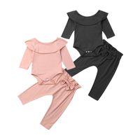 Pudcoco 2 adet Toddler Çocuklar Bebek Kız Fırfır Bodysuit Romper Üst + Ilmek Pantolon Pantolon Pamuk Uzun Kollu Kıyafet Giysileri Set Giyim Setleri