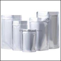 Almacenamiento Housekee Organización Home GardenStorage Bolsas 100pcs / lot Ángulo redondo Soporte de aluminio puro Papelaje de aluminio bolsa de embalaje Vacuum sellado Zippe