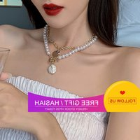 Sexy Multi Pearl Necklace, Net Red Short Double Layer Clavicle Chain, Choker Collar and Necklace for Women