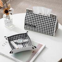 Tissue Boxes & Napkins Modern Houndstooth Leather Box Napkin Holder For Kitchen Toilet Paper Home Office Storage