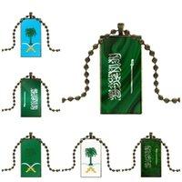 여자들에게는 Maxi 유리 펜던트 목걸이 수제 절반 사각형 사우디 아라비아 국기 엠블럼 목걸이