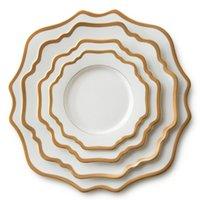 Sunflower design gold rim porcelain wedding charger plates pink color dinner plate dessert plates cake plates