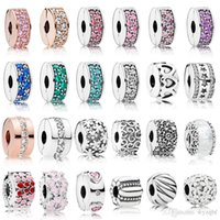 925 Sterling Silver Clip Charms Multi Style Flower Stopper Beads With Cubic Zircon Fit Pandora Original Charm Bracelets Bangle Jewelry Gift