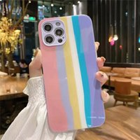 Gradient rainbow tempered glass protective hard phone cases for iPhone 12 11 pro promax X XS Max 7 8 Plus case cover