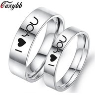 Wedding Rings 6 MM I Love You Ring For Women Men Titanium Steel Band Lover Couple Neutral Fashion Jewelry Gift