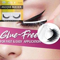 Faux cils Skonhed 1 paire auto-adhésif 3D Faux Mink Cheveux Pas de colle requis Couteaux réutilisables Outils de maquillage oculaire vierge